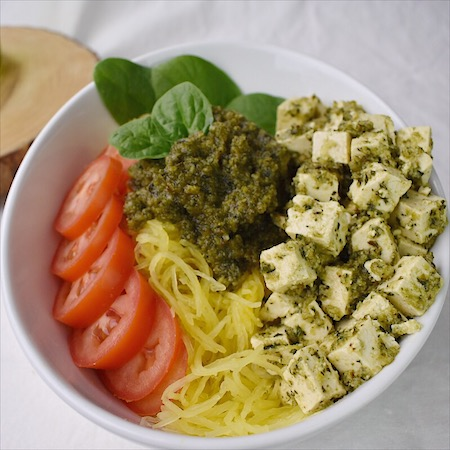 Pesto Spaghetti Squash Buddha Bowl | Real. Simple. Vegan.