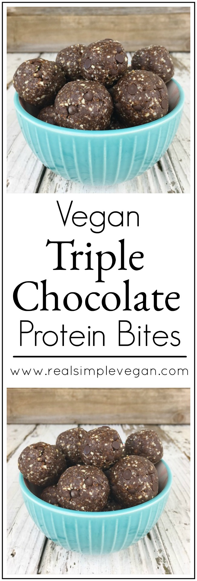 Triple Chocolate Protein Bites | Real. Simple. Vegan.